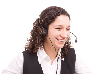 Friendly telephone operator working with laptop isolated Stock Photo - 5580720