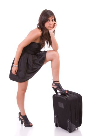 Young girl, going on vacations - isolated on white photo
