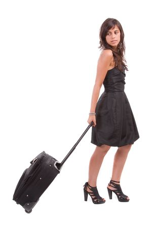 Young girl, going on vacations - isolated on white Stock Photo - 5594497