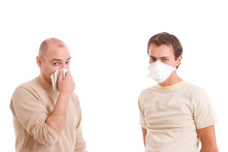 Casual men with flu, isolated over white background Stock Photo - 5594526