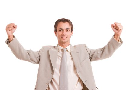Very Successful with arms raised isolated over white background Stock Photo - 5594551