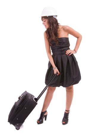 business woman going on vacations, isolated over white Stock Photo - 5618302