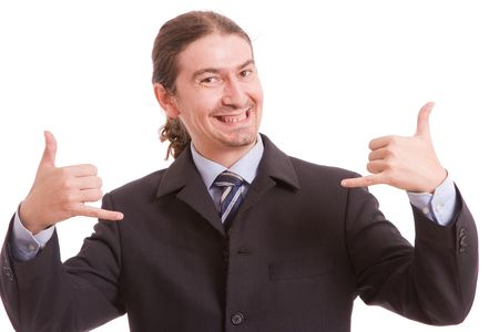 Very Successful man, with arms raised isolated over white background Stock Photo - 5618328