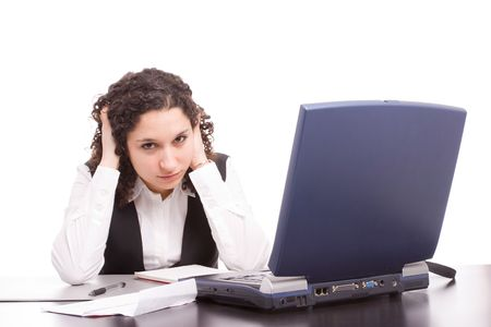 Friendly telephone operator working with laptop isolated Stock Photo - 5618299