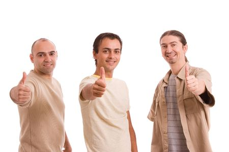 Group of friends showing thumbs up, isolated over white photo