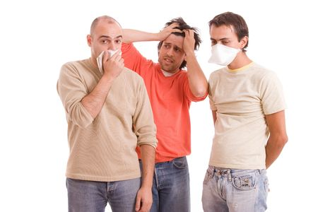 Young boy in panic with friends h1n1 disease Stock Photo - 5621013