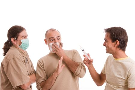 Man infected with h1n1 virus terrorizing his friends Stock Photo - 5621009