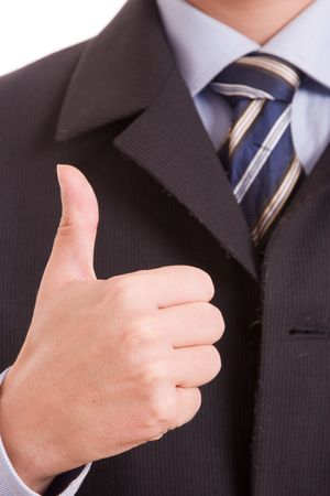 Business man showing thumb up, isolated over white