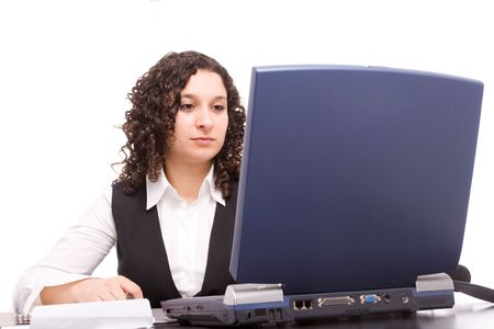 Friendly telephone operator working with laptop isolated Stock Photo - 5679094
