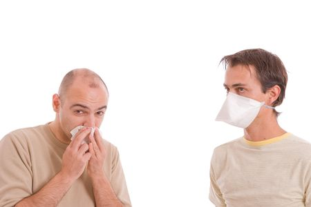 Casual men with flu, isolated over white background Stock Photo - 5745090