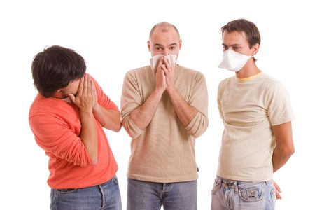 Casual men with flu, isolated over white background Stock Photo - 5745100