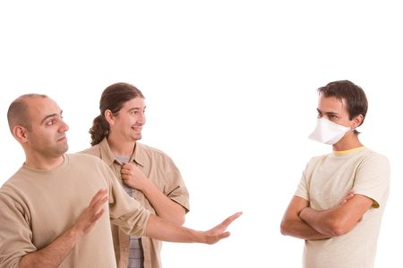 Man infected with h1n1 virus terrorizing his friends Stock Photo - 5768984