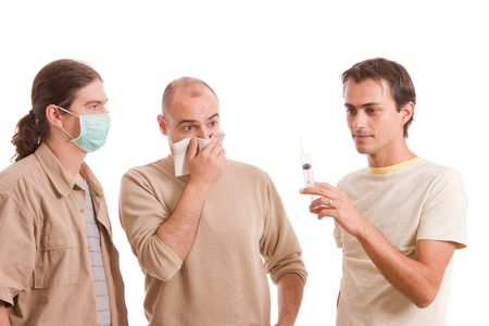 Man infected with h1n1 virus terrorizing his friends Stock Photo - 5768981