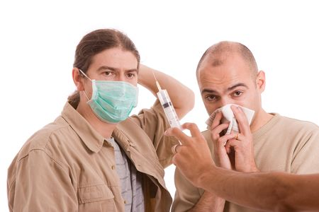 Man infected with h1n1 virus terrorizing his friends Stock Photo - 5768987