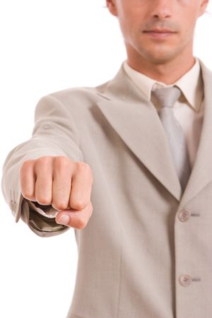 Business man showing closed hand - focus on hand photo