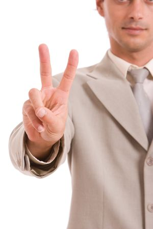 Business man signaling ok - focus on hand photo