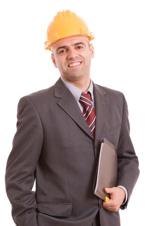 Young Engineer posing isolated over white background photo