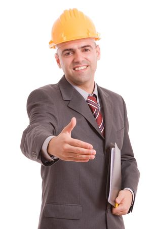 Young engineer offering handshake, isolated over white Stock Photo - 5768983