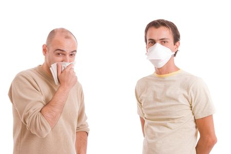 Casual men with flu, isolated over white background photo