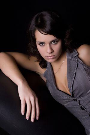 Low key portrait of a beautiful woman Stock Photo - 5850284