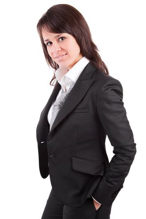 Beautiful business woman posing isolated over white Stock Photo - 6122009
