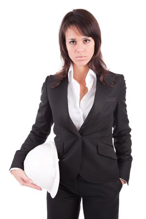 Business woman holding an helmet, isolated over white Stock Photo - 6308487