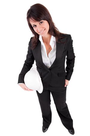 neckties: Business woman holding an helmet, isolated over white