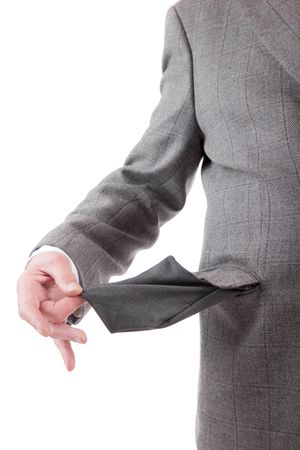 Man holding empty pocket, isolated over white background Stock Photo - 6308512