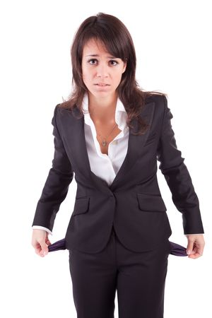 money problems: Woman holding empty pockets, isolated over white background