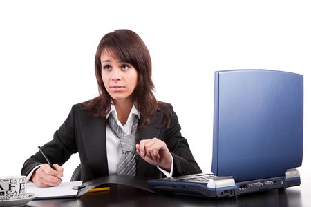 Business woman working with laptop, isolated over white Stock Photo - 6644425