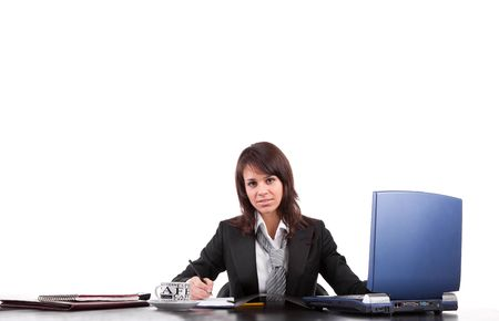 Beautiful business woman, posing isolated over white background Stock Photo - 6678697