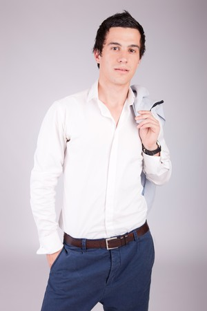 Young casual boy posing isolated photo