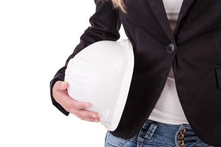 Business woman holding an helmet, isolated Stock Photo - 7453067