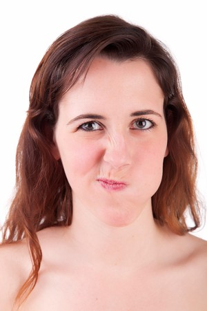 Silly woman posing isolated over white background Stock Photo - 7450874