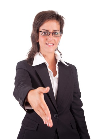 Young engineer, offering handshake - isolated over white photo