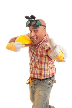 Happy construction worker, isolated on white photo