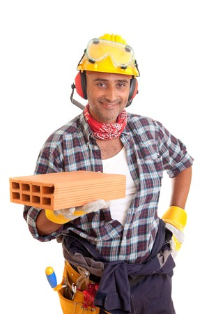 Construction worker offering services, isolated over white photo