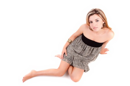 Young and beautiful woman posing - isolated photo