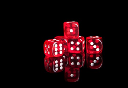 Red dices isolated with reflection photo