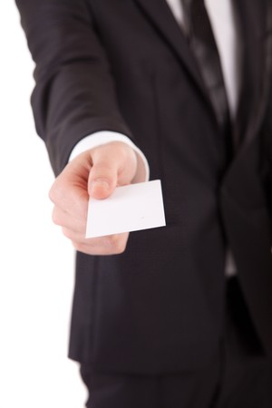 one to one meeting: Business man offering card - selective focus on card Stock Photo