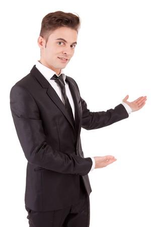 Business man making presentation - isolated on white photo