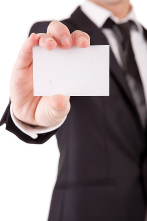 holding business card: Business man offering card, isolated over white background