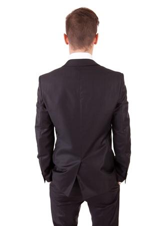 Business man posing backwards, isolated over white Stock Photo - 8308586