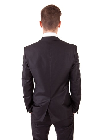 back straight: Business man posing backwards, isolated over white