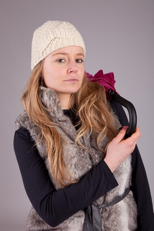beautiful woman dressed for winter - isolated photo