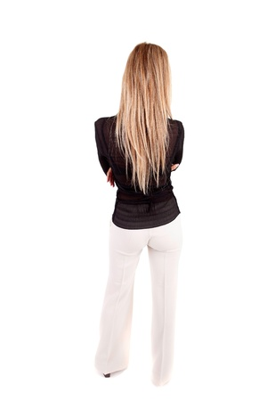 long pants: Business woman posing backwards isolated over white