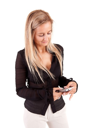 Business woman at the phone - isolated over white Stock Photo - 9908704