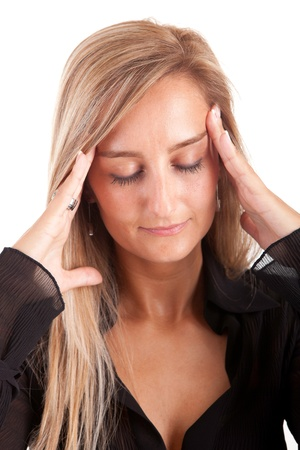 Young business woman with headache - isolated over white Stock Photo - 9912730