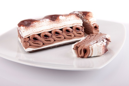 Chocolate icecream isolated over white background photo