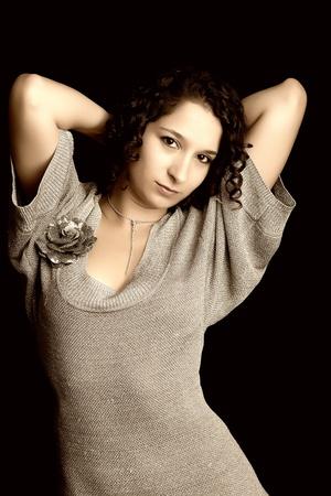 Beautiful woman fashionable portrait, digitally edited photo